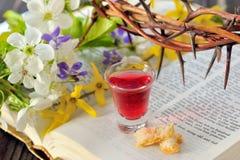 圣餐杯子用酒和面包 库存图片