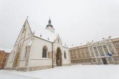 圣马克克罗地亚教会在萨格勒布在冬天 免版税库存照片