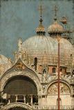 圣马克大教堂在威尼斯-葡萄酒 免版税库存照片