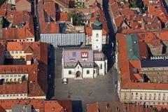 圣马克广场在萨格勒布,克罗地亚 库存照片