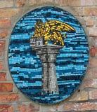 圣马克狮子的马赛克在墙壁上的 免版税图库摄影