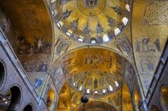 圣马克的大教堂威尼斯,意大利内部。 库存图片