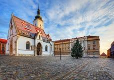 圣马克的教会在萨格勒布。 免版税库存照片