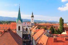 圣马克的教会在萨格勒布从上面 免版税库存图片