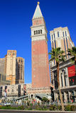 圣马克钟楼、威尼斯式度假旅馆和赌博娱乐场复制品, 图库摄影