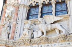 圣马克,威尼斯意大利飞过的狮子  库存图片