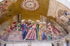 圣马克` s大教堂外部马赛克在威尼斯 免版税库存图片