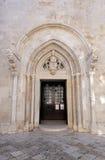 圣马克` s大教堂的门户在海岛的Korcula历史的城市Korcula在克罗地亚 免版税库存照片