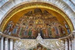 圣马克` s大教堂的马赛克在威尼斯 库存图片