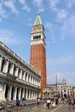 圣马克` s钟楼在威尼斯,意大利 库存照片