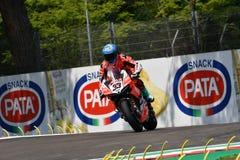 圣马力诺意大利- 2018年5月11日:马尔科・梅兰德里ITA杜卡迪Panigale R阿鲁巴 它赛跑-杜卡迪队,在行动 免版税库存照片