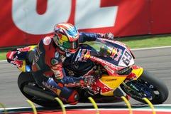圣马力诺意大利- 5月12日:尼基海登美国本田CBR1000RR本田世界在行动的超级摩托车队 免版税图库摄影