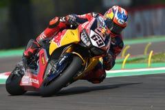 圣马力诺意大利- 5月12日:尼基海登美国本田CBR1000RR本田世界在行动的超级摩托车队 库存照片