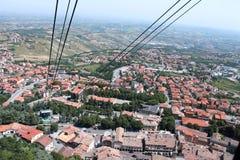 圣马力诺的看法从缆索铁路的 库存图片