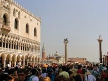 圣马可广场的,游人圣马克广场,威尼斯,意大利 免版税库存图片
