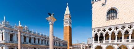 圣马尔谷教堂广场全景在威尼斯,意大利 免版税图库摄影