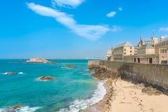 圣马洛湾,不列塔尼,法国 免版税库存图片