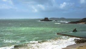 圣马洛湾海湾  库存图片