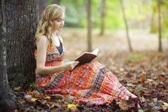 圣经读书在森林里 免版税库存图片