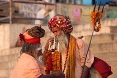圣洁人在瓦腊纳西,印度 图库摄影