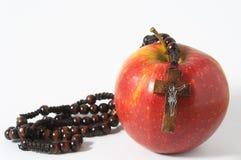 圣经伊娃的罪孽红色苹果计算机 免版税库存图片