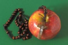 圣经伊娃的罪孽红色苹果计算机 免版税图库摄影
