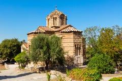 圣洁传道者的教会在古老集市,雅典,希腊 库存照片
