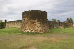 圣费利佩堡垒的外部在普拉塔港,多米尼加共和国 免版税库存照片