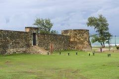 圣费利佩堡垒的外部在普拉塔港,多米尼加共和国 库存图片