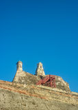 圣费利佩de巴拉哈斯堡垒卡塔赫钠哥伦比亚低角度视图 库存图片
