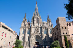 圣洁十字架和圣徒尤拉莉亚的大教堂。巴塞罗那。 库存图片