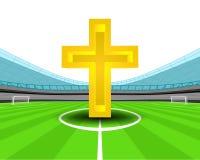 圣洁十字架在橄榄球场传染媒介中场  库存例证