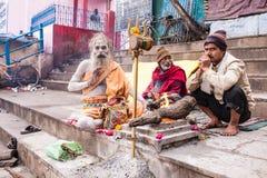 圣洁印度Sadhu 拘尸那揭罗,印度 免版税图库摄影