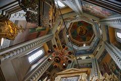 圣洁受难者塞浦路斯人和Justina教堂的天花板内部 免版税库存照片