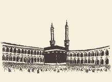 圣洁圣堂麦加沙特阿拉伯穆斯林剪影 免版税库存图片