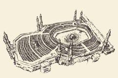 圣洁圣堂麦加沙特阿拉伯穆斯林剪影 免版税图库摄影