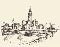 圣洁圣堂麦加沙特阿拉伯穆斯林剪影 免版税库存照片