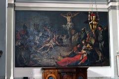 圣经基督交叉在十字架上钉死耶稣主题 免版税图库摄影