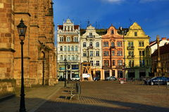 圣巴塞洛缪,老建筑学, Pilsen,捷克大教堂  免版税库存照片