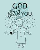 圣经字法上帝保佑您和一点天使 免版税库存照片