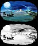 圣洁家庭和三位国王-着色页的例证 免版税库存图片