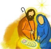 圣洁家庭圣诞节诞生摘要 库存图片
