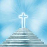 圣洁导致天堂或地狱的十字架和楼梯 库存例证
