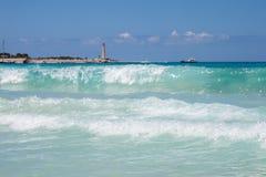 圣维托Lo品柱海滩的海 免版税图库摄影