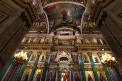 圣以撒` s大教堂内部  免版税库存图片