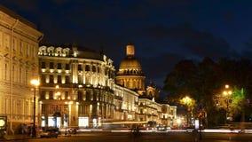 圣以撒` s大教堂定期流逝摄影圣彼得堡视图  股票录像