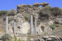 圣经的亚实基伦古城的Bizantine教会在以色列 免版税库存照片