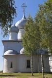 圣洁的贞女的做法的大教堂在Belozersk镇  免版税库存图片