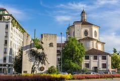 圣贝纳迪诺alle Ossa,一个教会在米兰 库存照片
