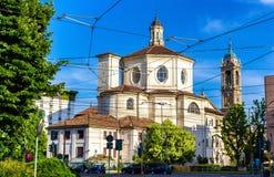 圣贝纳迪诺alle Ossa,一个教会在米兰 库存图片
